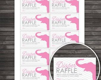 Girl Elephant Baby Shower Diaper Raffle Tickets - Gray Pink Baby Shower Diaper Raffle Cards - Instant Download - Chevron Baby Shower Games