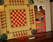 Large Vintage Double Sided Carrom Game Board with Game Pieces, Cue Sticks and Original Box - Model 100