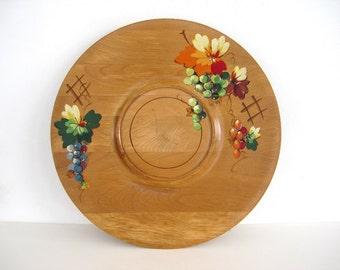 Vintage Wood Tray Round Hand Painted Fruit Maple Large 1960 Danish Decor