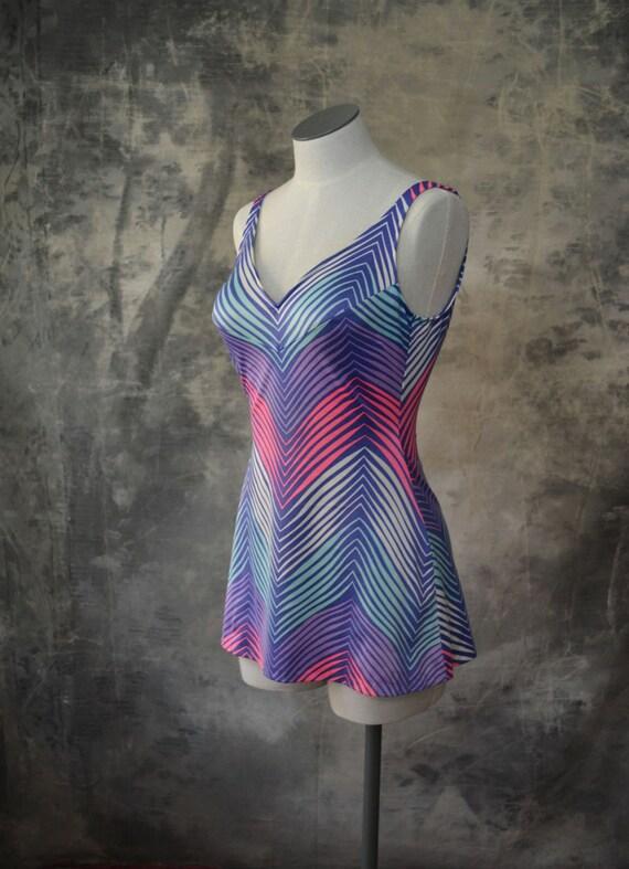 1980s Swimsuit Neon Chevron Stripes