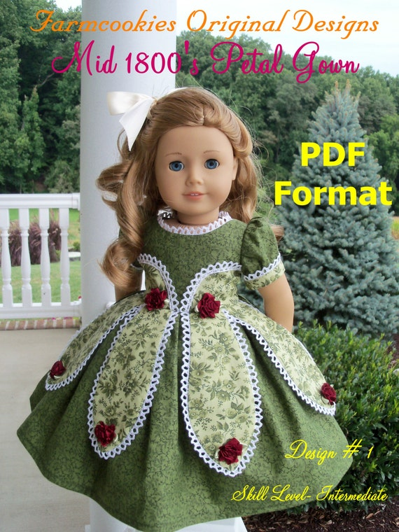 "PDF Sewing PATTERN / Historical Mid 1800's Petal Gown / Sewing Pattern for American Girl or other 18"" Dolls"