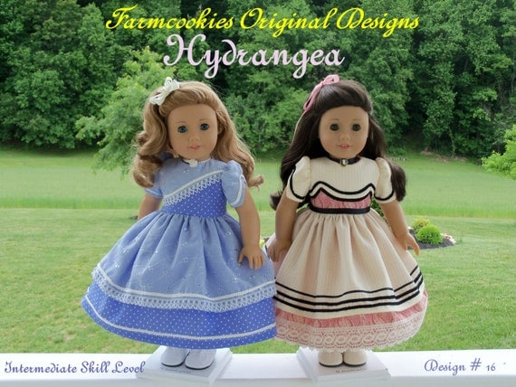 "PDF Sewing Pattern- HYDRANGEA- for Historical American Girl or other 18"" Dolls"