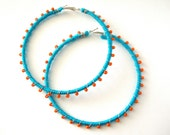 Devi Hoops - Aqua and Orange - LaNomRahDesigns
