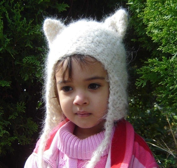 PDF Kitty Earflap Hat  DOWNLOADABLE Crochet Pattern No038