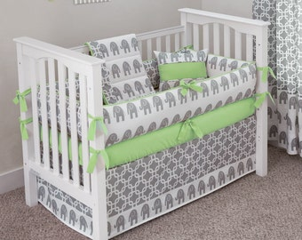 Designer Custom Made  - Elephants Green 5pc Crib Bedding Set