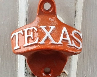 Longhorn University of Texas -Orange Bottle Opener- White Letters -Back To School -Beer Opener-Rustic-Primitive-Vintage Metal-Burnt Orange