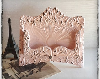Pink Business Card Holder-Cottage-Bright Cast Iron-Victorian Old Fashioned-Wedding Favor-Light Blushing Pale-Metal Decor-October Home-Office