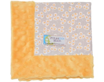 Baby Girl LUXE Lovey Blanket - Yellow & Gray Flower Vines on Yellow Minky-Unique BABY SHOWER Gift