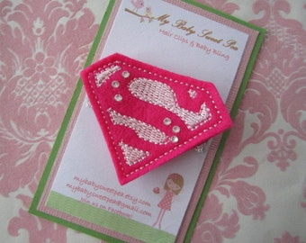 Girl hair clips - super hero hair clips - girl hair clippies