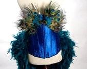 XL  Peacock Feather Corset Costume Burlesque Fantasy Fairy Royal Blue Bird Teal Sexy Adult Women's Plus Size