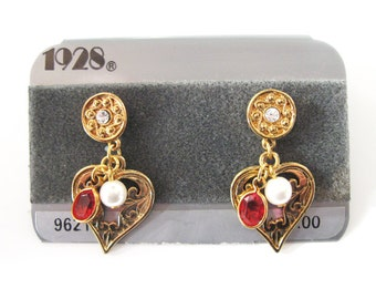 Vintage 1928 Heart Drop Earrings, New on Card, Surgical Steel Posts