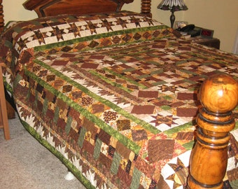 Queen or King Sized Patchwork Bed Quilt - Ohio Stars & Delectable Mountains