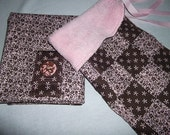 Infant Accessories - Infant Carrier Car Seat Cover and Blanket Set - Brown/Pink Small Floral