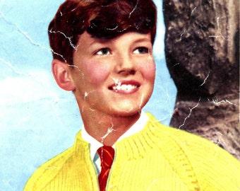 Kids' 1950s Vintage Zip-Front Cardigan with Raglan Sleeves -- PDF KNITTING PATTERN