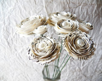 Charming Music Note Stemmed Paper Flowers