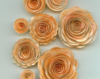 Easter Words on Orange Handmade Spiral Paper Flowers