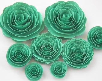 Light Emerald Isle Green Handmade Rose Spiral Paper Flowers Use on Projects, Decor, Crafts