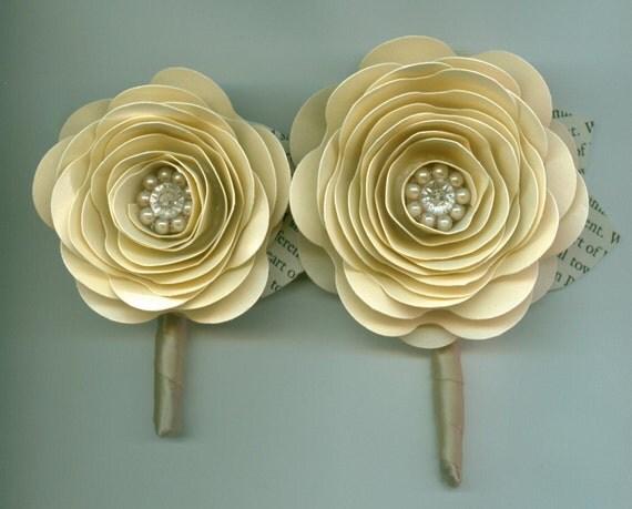 Custom Paper Flower Wedding Boutonniere