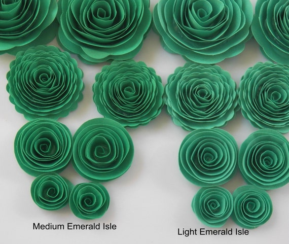 Medium Emerald Isle Green Handmade Rose Spiral Paper