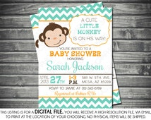 Monkey Baby Shower Invitation - Baby Boy Chevron Teal Orange Little Monkey Baby Invite Safari DIY Printable Invite PDF