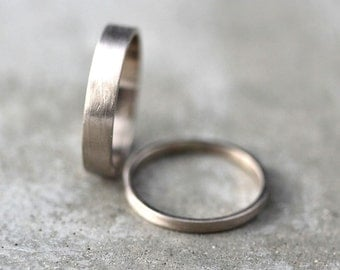 White Gold Wedding Band Set, His and Hers 4mm and 2mm Brushed Flat 14k Recycled Palladium White Gold Wedding Ring Set  -  Made in Your Sizes