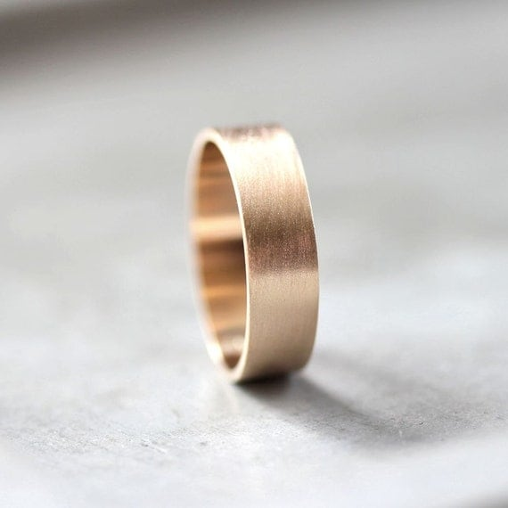 Men S Gold Wedding Band 6mm Wide Brushed Flat 10k