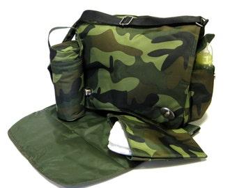 Camouflage Messenger Diaper Bag with Extras by Kalencom