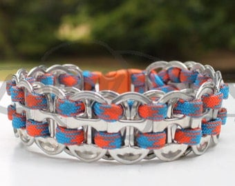 University of Florida Gators Upcycled Pop Tab 550 Paracord Survival Strap Bracelet Anklet w Buckle