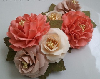 Corsages - Boutonniere - Weddings - Coral - Tan - Bridal Shower - Baby Shower - Made To Order - Set of 6