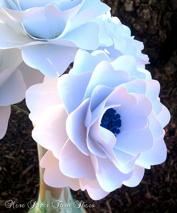 Paper Flowers DIY - Wedding Bouquet - Stemmed Flowers - Candy Bar Decor - Birthday - Centerpieces - Made To Order - Set of  12