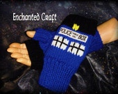 Doctor Who Fingerless Gloves TarDis style police box Knitted- NEW DESIGN