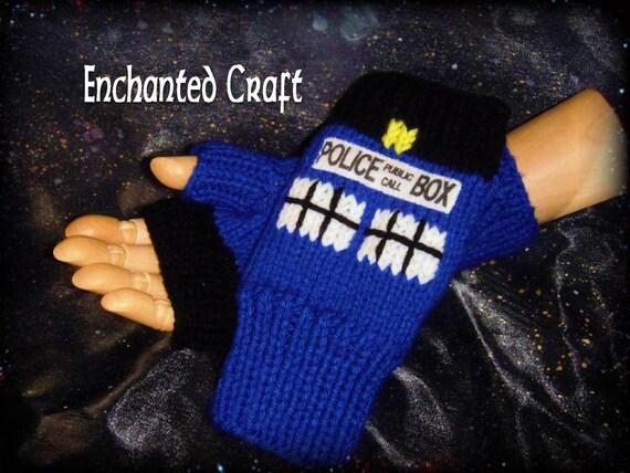 Doctor Who Fingerless Gloves TarDis style police box Knitted- NEW DESIGN