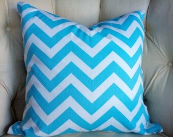 "Pillow Cover Cushion  20x20""  Turquoise chevron zoom zoom zig zag"