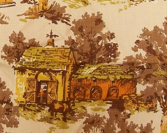 Vintage 1960s Toile Fabric Waverly Autumn Colonial Village Upholstery Cotton