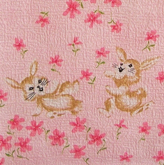 Vintage 1950s children fabric pink bunnies by for Vintage childrens fabric