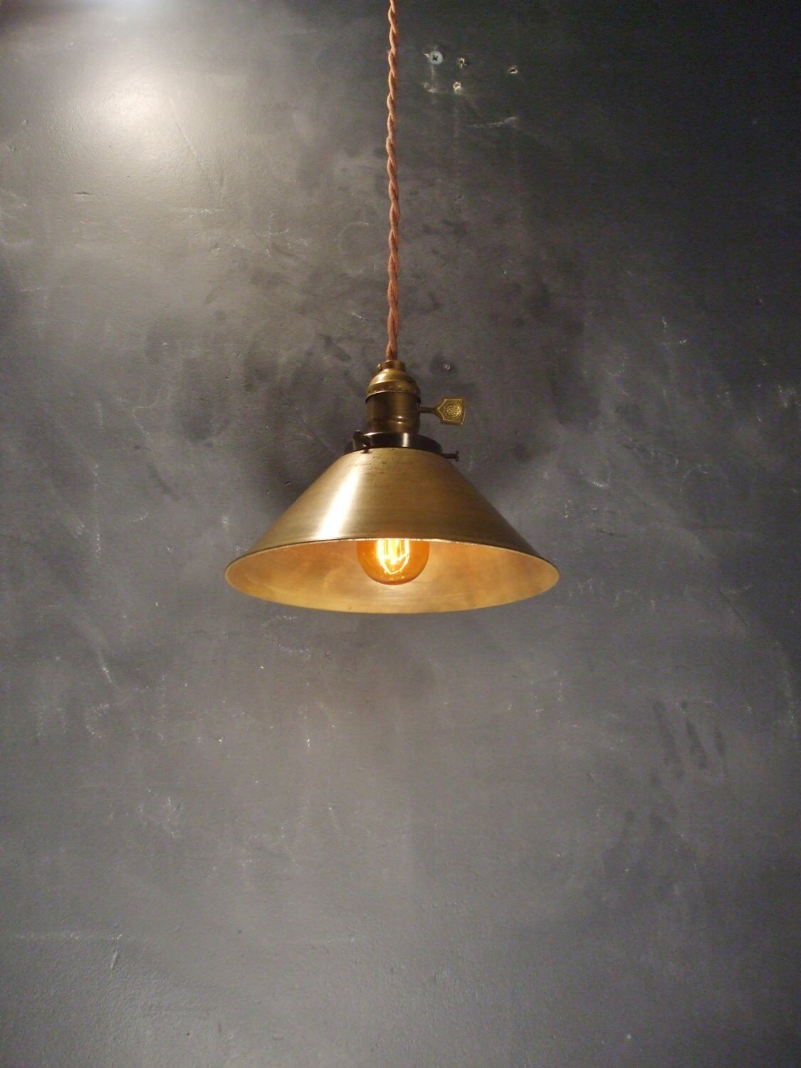 Industrial lighting brass cone pendant lamp vintage for Industrial bulb pendant