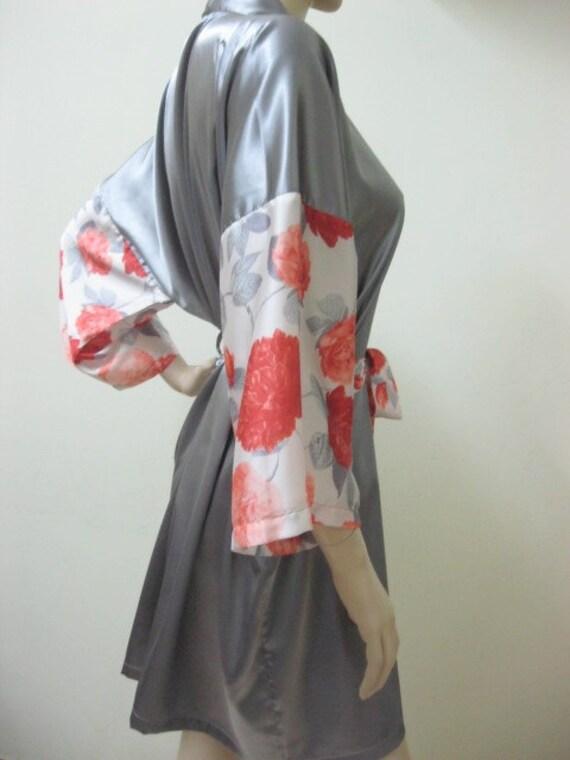BIG SALE from USD 45 - Silk Satin Kimono Robe in Short Kimono Gift for Her Bridesmaid Robes Wedding Robes Loungwear
