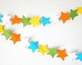 Jungle Boy Star Garland - made with wool blend felt in bright jungle colours, perfect for baby room or parties