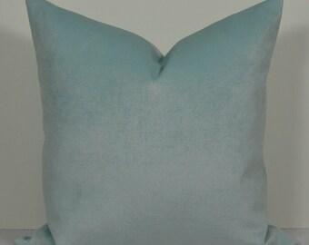 Spa blue velvet pillow cover BOTH SIDES chenille throw pillow-french blue-aqua designer pillow -
