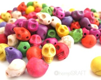 Skull Beads, Tiny Multicolor Day of the Dead Stone Beads, 24pc