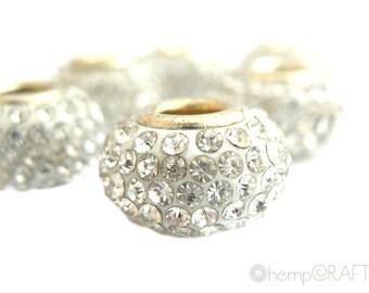 Rhinestone European Bead, 1pc White Diamond Rhinestones, Big Hole Bead, 15x10mm