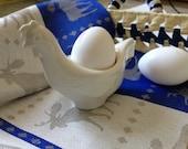 """Handmade white porcelain egg cup """"Easter CHICKEN"""""""