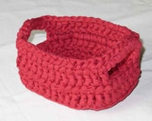 Crochet Basket - Small Handled in Watermelon Cotton