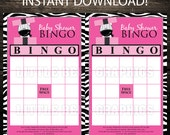 INSTANT DOWNLOAD --- Cute Zebra Present Printable Bingo Game Cards,  Baby Shower, Birthday Favors