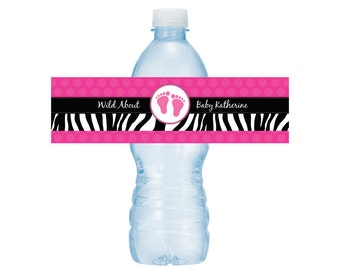 Hot Pink and Zebra Print Water Bottle Drink Labels -- Baby Shower or Birthday -- Set of 5 Labels