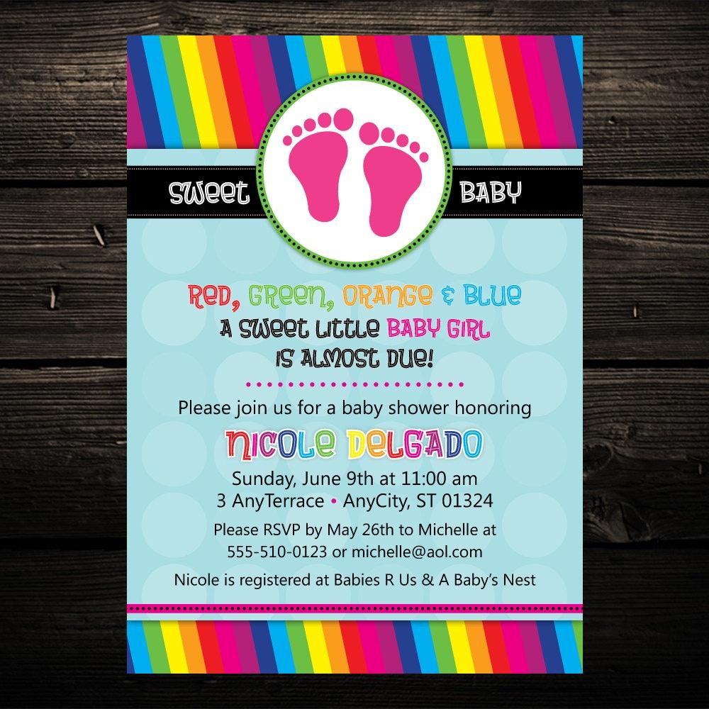 rainbow invitation rainbow baby shower invitation baby feet