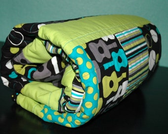 "MoDErN Baby Boy Crib/Toddler Bed Quilt, Michael Miller's Groovy Guitars w/ Lagoon fabrics and Teal Bubble Dot Minky w/ binding 34"" X 52"""