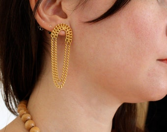 80s Gold Chain Dangle Earrings