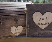 Rustic Wedding Set - Treasure Chest AND Matching Guest Book - - SAVE by buying the Set - Small or Medium