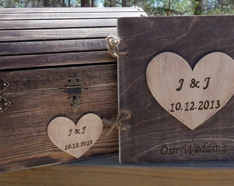 CoUPON CoDE:  BLKFRI10 - Rustic Wedding Set - Treasure Chest AND Matching Guest Book - - SAVE by buying the Set - Small or Medium